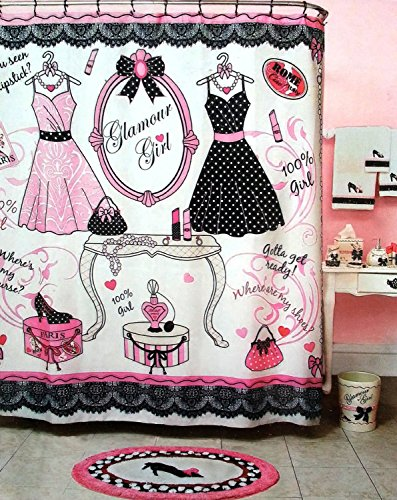 Glamour Girl Pink Black White Shower Curtain Fashion Icon Dresses Shoes Purses Glam And MORE 70 X 72