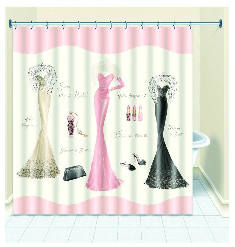 Ayygift Chic Dressed To Thrill Fabric Shower Curtain Liner Dresses Print Accessories